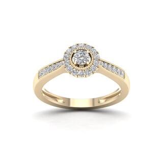 De Couer 1/3ct TDW Diamond Halo Engagement Ring - Yellow