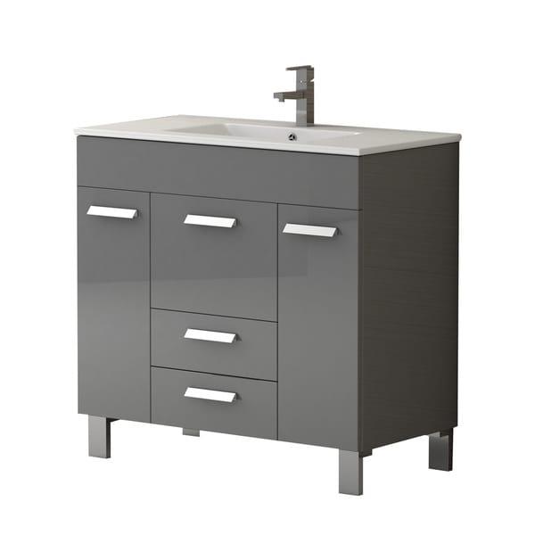 Eviva Venus Grey/White Wood/Porcelain 36-inch Bathroom Vanity With Integrated Sink
