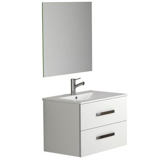 Eviva Astoria Modern White Wood 28-inch Bathroom Vanity with White Integrated Porcelain Sink
