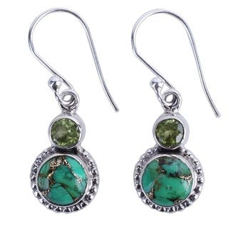 Handcrafted Sterling Silver 'Forest Floor' Turquoise Peridot Earrings (India)|https://ak1.ostkcdn.com/images/products/16371922/P22728987.jpg?impolicy=medium