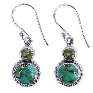Handcrafted Sterling Silver 'Forest Floor' Turquoise Peridot Earrings (India)