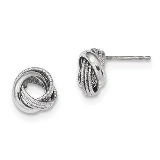 14 Karat White Gold Textured Polished Love Knot Post Earrings