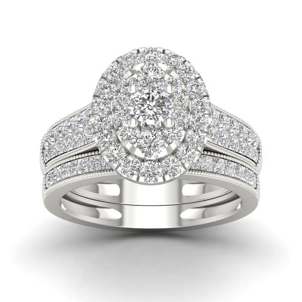 Shop De Couer 1ct Tdw Diamond Oval Frame Bridal Set White On