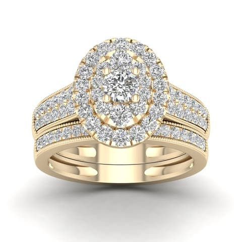 De Couer IGI Certified 1 ct. TDW White Diamond Oval Frame Bridal Set