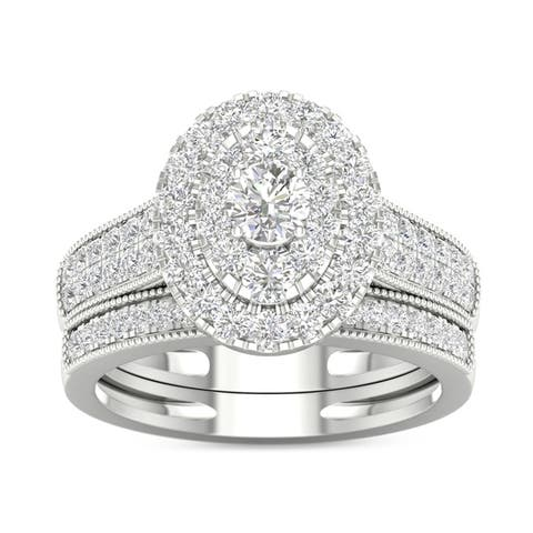 De Couer IGI Certified 1ct TDW Diamond Oval Frame Bridal Set
