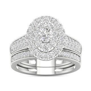 De Couer 1ct TDW Diamond Oval Frame Bridal Set - White