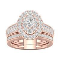 De Couer  IGI Certified 1ct TDW Diamond Oval Frame Bridal Set - Pink