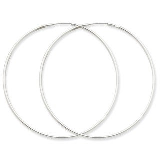 14 Karat White Gold 1.5mm Polished Endless Hoop Earrings