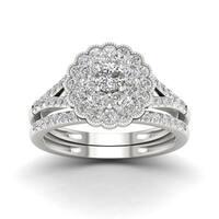 De Couer 1ct TDW Diamond Flower Shape   Bridal Set - White