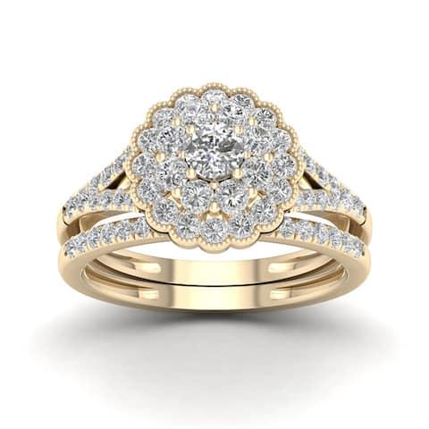 De Couer 1ct TDW Diamond Flower Shape Bridal Set