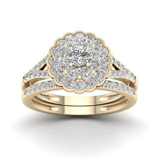 De Couer 1ct TDW Diamond Flower Shape Bridal Set - Yellow