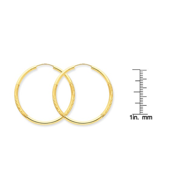 14K Yellow Gold 2mm Thick Diamond Cut Satin Polished Endless Hoop Earrings