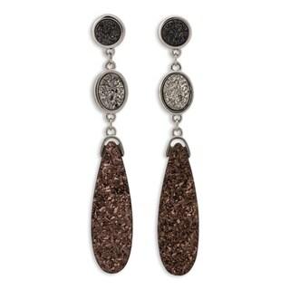 Handcrafted Bronze 'Colorful Trio' Brazilian Drusy Agate Earrings (Brazil)
