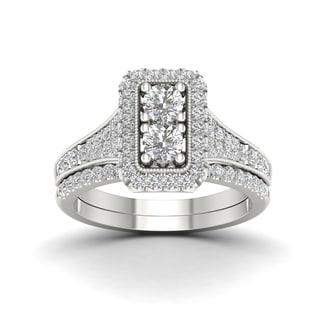 De Couer 1ct TDW Diamond Oval Frame Bridal Set (H-I, I2)