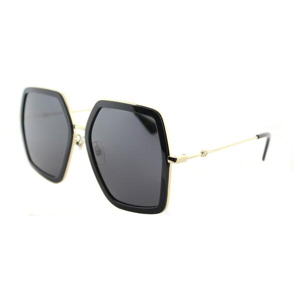 c29fb9c206c17 Shop Gucci GG 0106S 001 Gold Black Metal Square Sunglasses Grey Lens ...