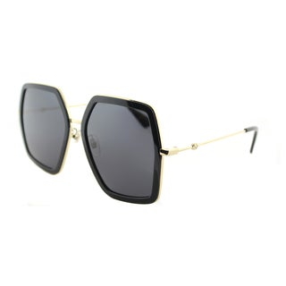 Gucci GG 0106S 001 Gold Black Metal Square Sunglasses Grey Lens