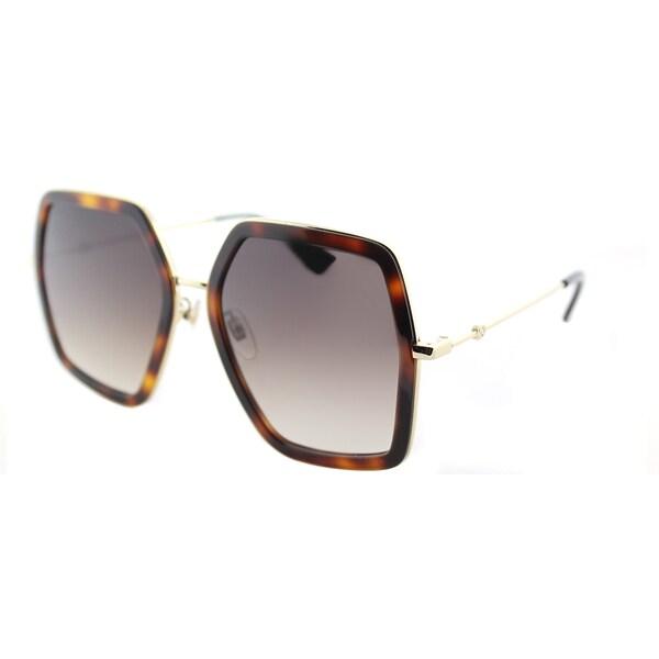 e82b47ffa4b Gucci GG 0106S 002 Gold Havana Metal Square Sunglasses Brown Gradient Lens
