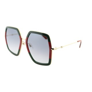 Gucci GG 0106S 007 Stiped Green Gold Metal Square Sunglasses Grey Gradient Lens