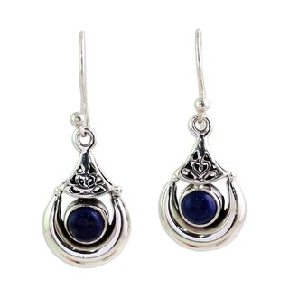 Handmade Sterling Silver 'Alluring Crescent' Lapis Lazuli Earrings (India)