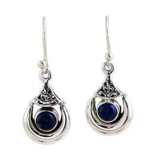Link to Handmade Alluring Crescent Lapis Lazuli Earrings (India) - Silver Similar Items in Earrings