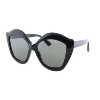 Gucci GG 0117S 001 Shiny Black Plastic Cat-Eye Sunglasses Grey Lens