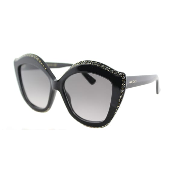 e48f4f91bb Gucci GG 0118S 001 Shiny Black with Crystals Plastic Cat-Eye Sunglasses  Grey Gradient Lens