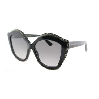 Gucci GG 0118S 001 Shiny Black with Crystals Plastic Cat-Eye Sunglasses Grey Gradient Lens