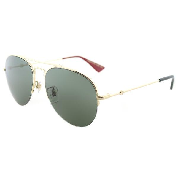 6645ca254a7 Shop Gucci GG 0107S 004 Gold Metal Aviator Sunglasses Green Lens ...