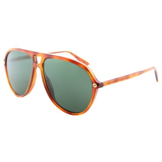 Gucci GG 0119S 003 Light Havana Plastic Aviator Sunglasses Green Lens