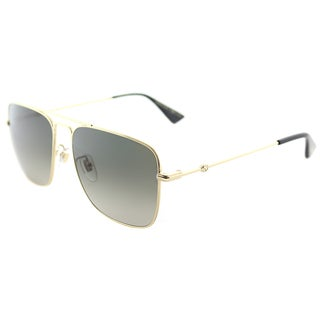 Gucci GG 0108S 006 Gold Metal Square Sunglasses Brown Gradient Lens