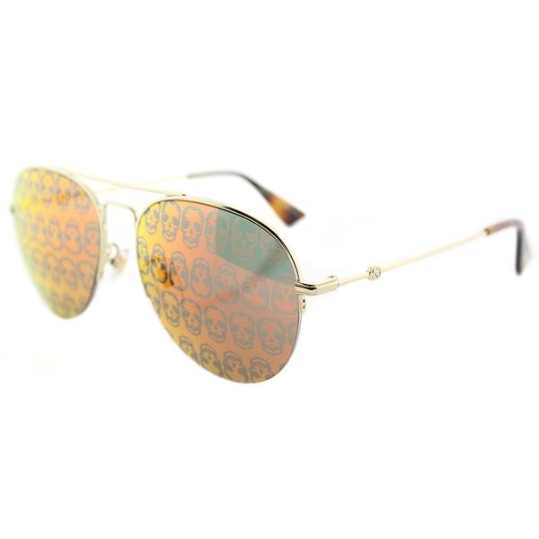 eda1d8043 Shop Gucci GG 0107S 002 Gold Metal Aviator Sunglasses Orange Mirror ...