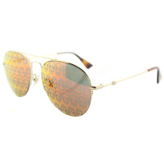 Gucci GG 0107S 002 Gold Metal Aviator Sunglasses Orange Mirror Lens