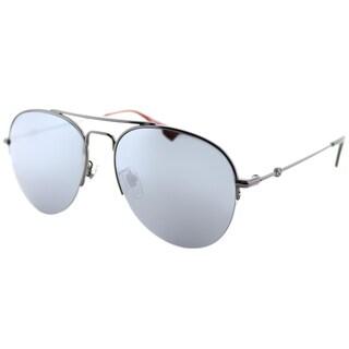 Gucci GG 0107S 003 Silver Metal Aviator Sunglasses Silver Mirror Lens