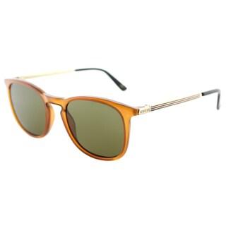 Gucci GG 0136S 003 Brown Plastic Square Sunglasses Green Lens