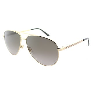 Gucci GG 0137S 001 Gold Metal Aviator Sunglasses Brown Gradient Lens