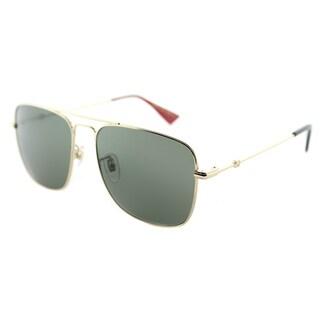 Gucci GG 0108S 003 Gold Metal Square Sunglasses Green Lens