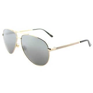 Gucci GG 0137S 002 Gold Metal Aviator Sunglasses Grey Mirror Lens