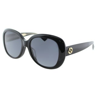 Gucci GG 0140SA 001 Asian Fit Shiny Black Plastic Oval Sunglasses Grey Gradient Lens
