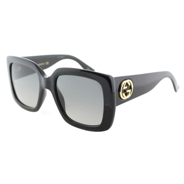 a5f5ec0f6ea Gucci GG 0141S 001 Shiny Black Plastic Square Sunglasses Grey Gradient Lens