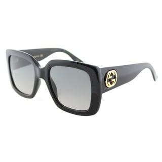 Gucci GG 0141S 001 Shiny Black Plastic Square Sunglasses Grey Gradient Lens