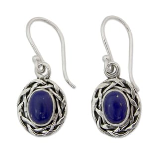 Handcrafted Sterling Silver 'Indian Basket' Lapis Lazuli Earrings (India)