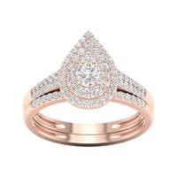 De Couer 1/2ct TDW Diamond Pear Shape Halo Bridal Set - Pink