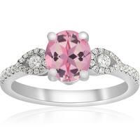 18K White Gold 1 3/4 ct TW Oval Pink Sapphire & Diamond Micro Pave Ring 18K White Gold (F-G,VVS1-VVS2)