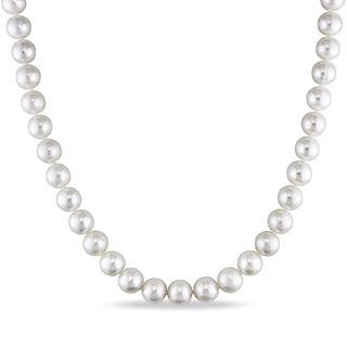 Catherine Catherine Malandrino Cultured Freshwater Pearl Strand Necklace with Sterling Silver Ball Clasp (8-9mm) https://ak1.ostkcdn.com/images/products/16372171/P22729234.jpg?impolicy=medium