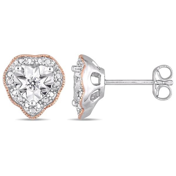 74884cf78 Laura Ashley 1/10ct TDW Diamond Heart Halo Stud Earrings in 2-Tone Rose