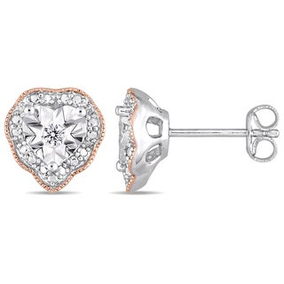 Laura Ashley 1/10ct TDW Diamond Heart Halo Stud Earrings in 2-Tone Rose Plated and White Sterling Silver