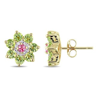 Laura Ashley Peridot Pink Sapphire and 1/10ct TDW Diamond Flower Stud Earrings in Yellow Plated Sterling Silver