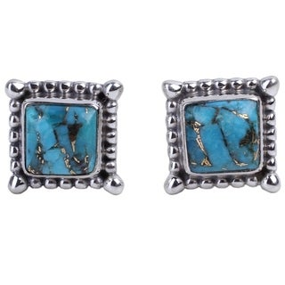 Handcrafted Sterling Silver 'Magical Blue' Turquoise Earrings (India)