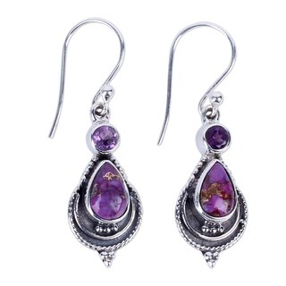 Handcrafted Sterling Silver 'Mughal Lilac' Amethyst Turquoise Earrings (India)