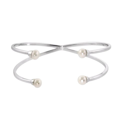 Eternally Haute Open 4-pearl Cuff Bangle - Silver